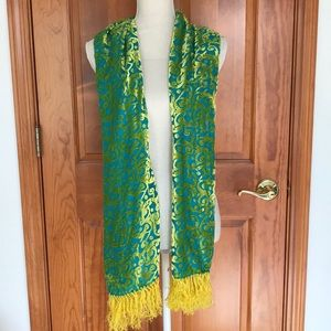 Accessories - Cool Blue and Yellow Burnout Velvet Scarf